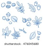 set of different tree leaves... | Shutterstock .eps vector #476045680