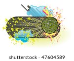 funky banner  with mirrorball....   Shutterstock .eps vector #47604589