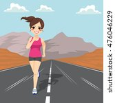 young jogging girl running on... | Shutterstock .eps vector #476046229