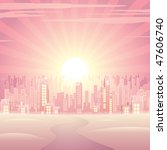 Glamour Pink Cityscape  Vector...