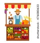 farmer selling vegetables and...   Shutterstock .eps vector #476080633
