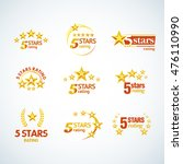 golden five stars round logo... | Shutterstock .eps vector #476110990