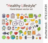 healthy lifestyle sticker set... | Shutterstock . vector #476114434