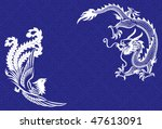 Two mythological animals - a chinese dragon and a phoenix - stock vector