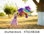 young girl at an outdoor party... | Shutterstock . vector #476148268