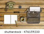 vintage typewriter and coffee... | Shutterstock . vector #476159233