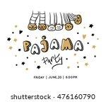 pajama party card. slumber party