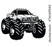 cartoon monster truck vector | Shutterstock .eps vector #476169043