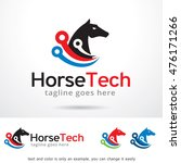 Stock vector horse tech logo template design vector 476171266