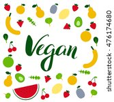 amazing fruits and veggies flat ... | Shutterstock .eps vector #476174680