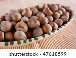 Tray Hazelnut - stock photo