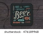 coaster for beer with hand... | Shutterstock .eps vector #476189968