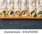 tortilla wraps with various... | Shutterstock . vector #476193550