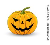 card with a evil pumpkin for... | Shutterstock .eps vector #476194948