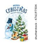vector illustration of snowman... | Shutterstock .eps vector #476197504