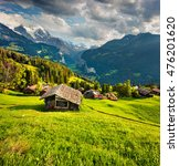 colorful summer view of wengen... | Shutterstock . vector #476201620