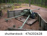 "Small photo of VIROLAHTI, FINLAND - AUGUST 30, 2016: 75-mm antitank gun during the Second world war on the position of the defensive line ""Suomen Salpa"""