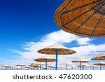 Beauty landscape of sun umbrella, make of reed - stock photo