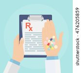 clipboard with medical rx... | Shutterstock .eps vector #476205859