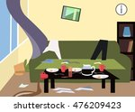 mess in the room cartoon | Shutterstock .eps vector #476209423