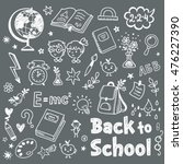 back to school doodle set on a... | Shutterstock .eps vector #476227390