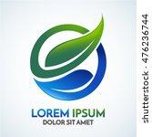 abstract sphere green leaf logo ... | Shutterstock .eps vector #476236744