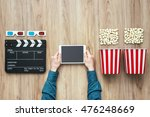 man watching movies streaming... | Shutterstock . vector #476248669