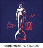 freediver. logo illustration on ... | Shutterstock .eps vector #476260228
