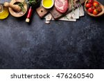 raw beef steak cooking and... | Shutterstock . vector #476260540