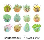 set of tree with green leaves.... | Shutterstock .eps vector #476261140