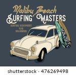 surfing artwork with a hippie... | Shutterstock .eps vector #476269498