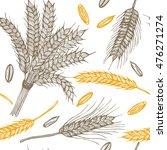 wheat ears hand draw sketch...