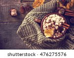 hot cocoa with marshmallows... | Shutterstock . vector #476275576