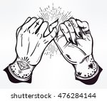 pinky promise  hand holding.... | Shutterstock .eps vector #476284144