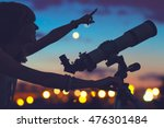 girl looking at the stars with... | Shutterstock . vector #476301484