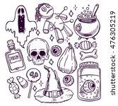 set of halloween sketch... | Shutterstock .eps vector #476305219