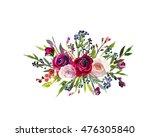 floral bouquet burgundy red... | Shutterstock . vector #476305840