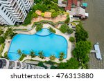 swimming pool and pier top view | Shutterstock . vector #476313880