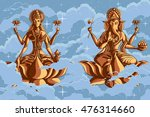 indian goddess lakshmi and... | Shutterstock .eps vector #476314660