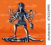 indian goddess kali with shiva. ... | Shutterstock .eps vector #476314990