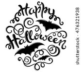 happy halloween card with hand... | Shutterstock .eps vector #476321938