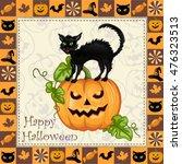 happy halloween frame with cat... | Shutterstock .eps vector #476323513