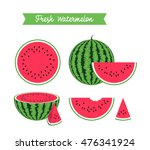 set of fresh ripe watermelon... | Shutterstock .eps vector #476341924