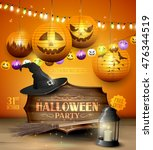 modern halloween party flyer... | Shutterstock .eps vector #476344519