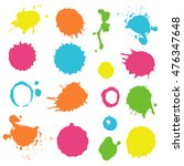 colorful ink splashes   vector... | Shutterstock .eps vector #476347648