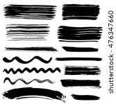 collection of ink brush drawings | Shutterstock .eps vector #476347660