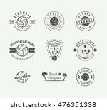 set of vintage volleyball... | Shutterstock .eps vector #476351338