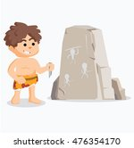 caveman drawing on stone | Shutterstock .eps vector #476354170