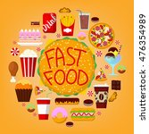 fastfood icons set with burger  ... | Shutterstock .eps vector #476354989