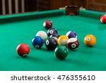 Billiard Balls On Green Table...